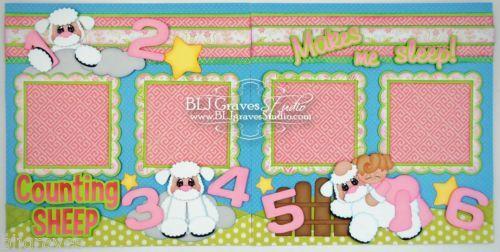 Elite4U-Premade-Scrapbook-Pages-Paper-Piecing-Baby-Girl-Sleep-Sheep-BLJgraves-26