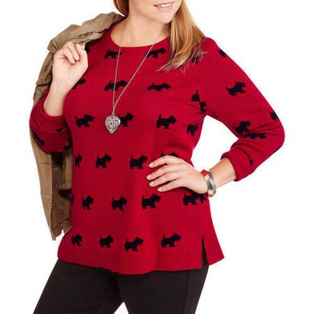 0d8eef792f3 Faded Glory Women s Plus-Size Printed Crew Neck Sweater