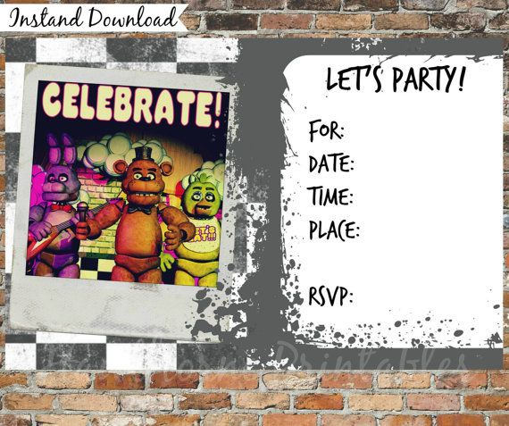 Five Nights At Freddys Invitations And By HawthornePrintables