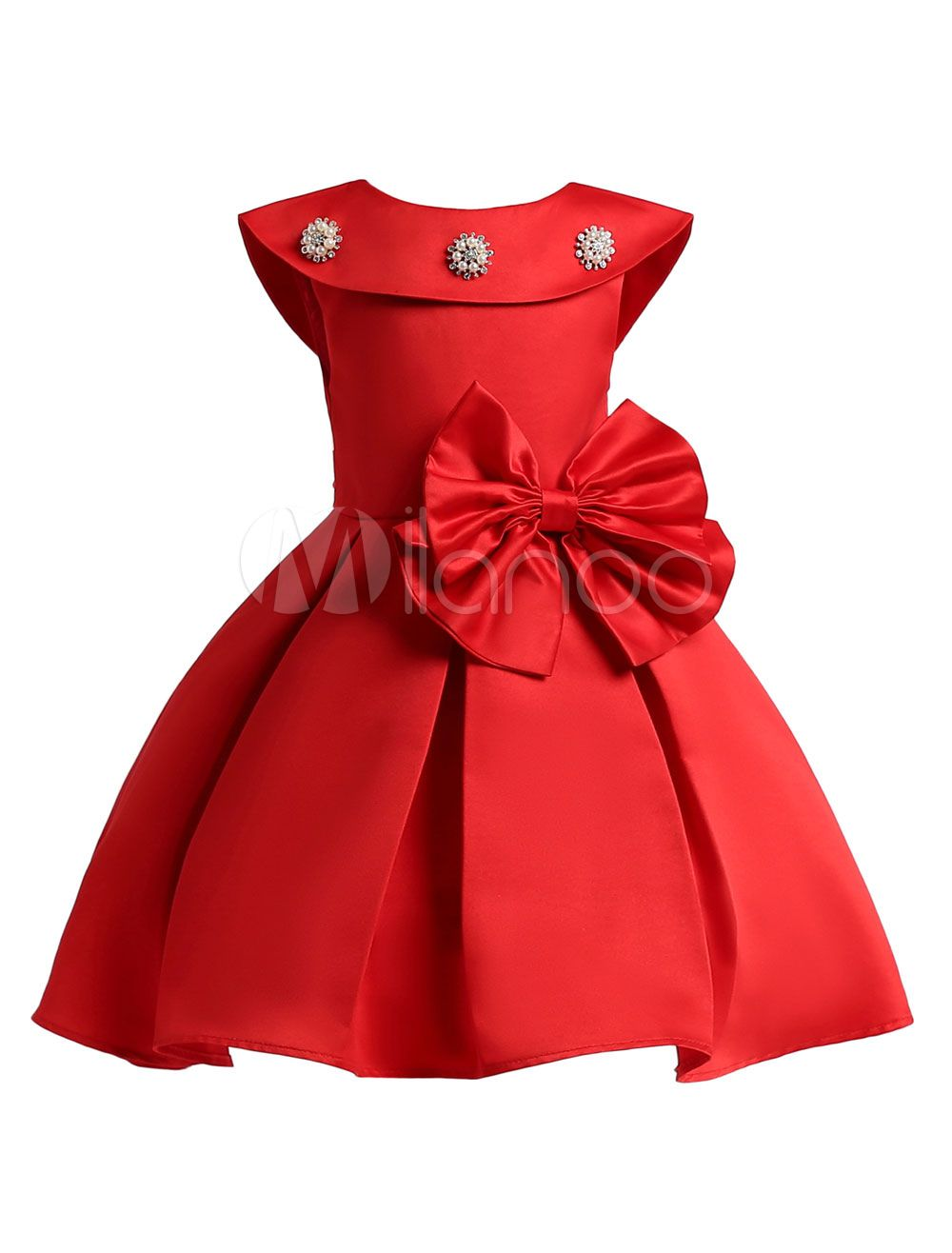 Flower girl dresses red satin a line bow sash beaded short pleated