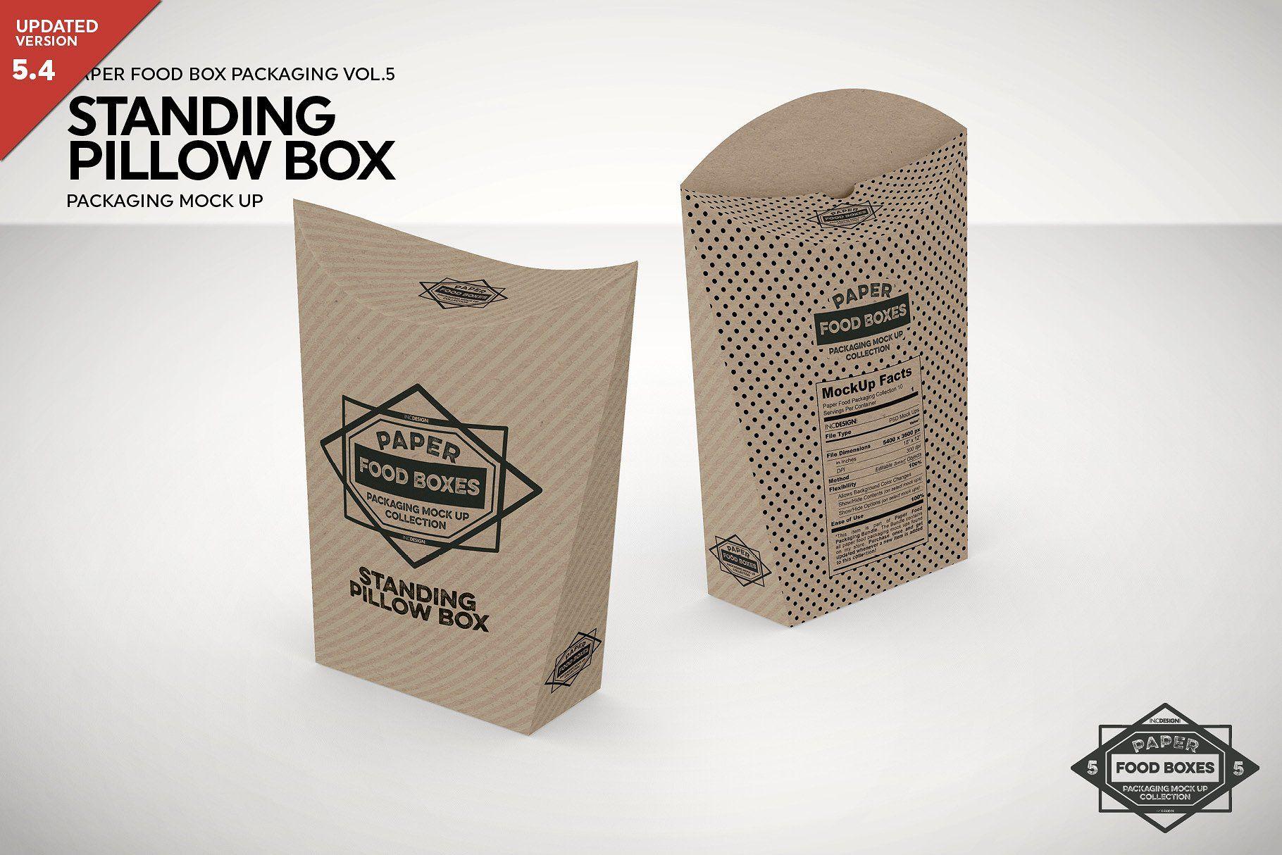Standing Pillow Box Packaging Mockup Packaging Mockup Pillow Box Free Packaging Mockup