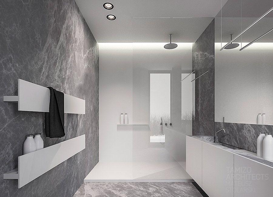 Bathroom Design Colors Minimalist projekt wnętrz domu jednorodzinnego q-house, grudziądz.   bathroom
