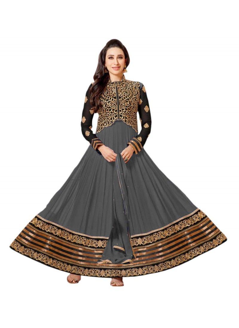 StyleFunia Karishma Kapoor Grey Deigner Floor Length Anarkali Suit