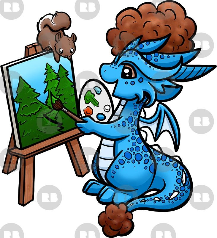 Bob Ross Drache Sticker By Rebecca Golins Dragons Might Have