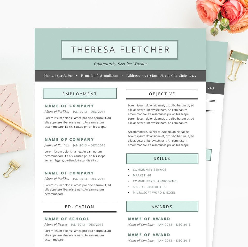 Chic Resume, Cover Letter & References Template Package ...