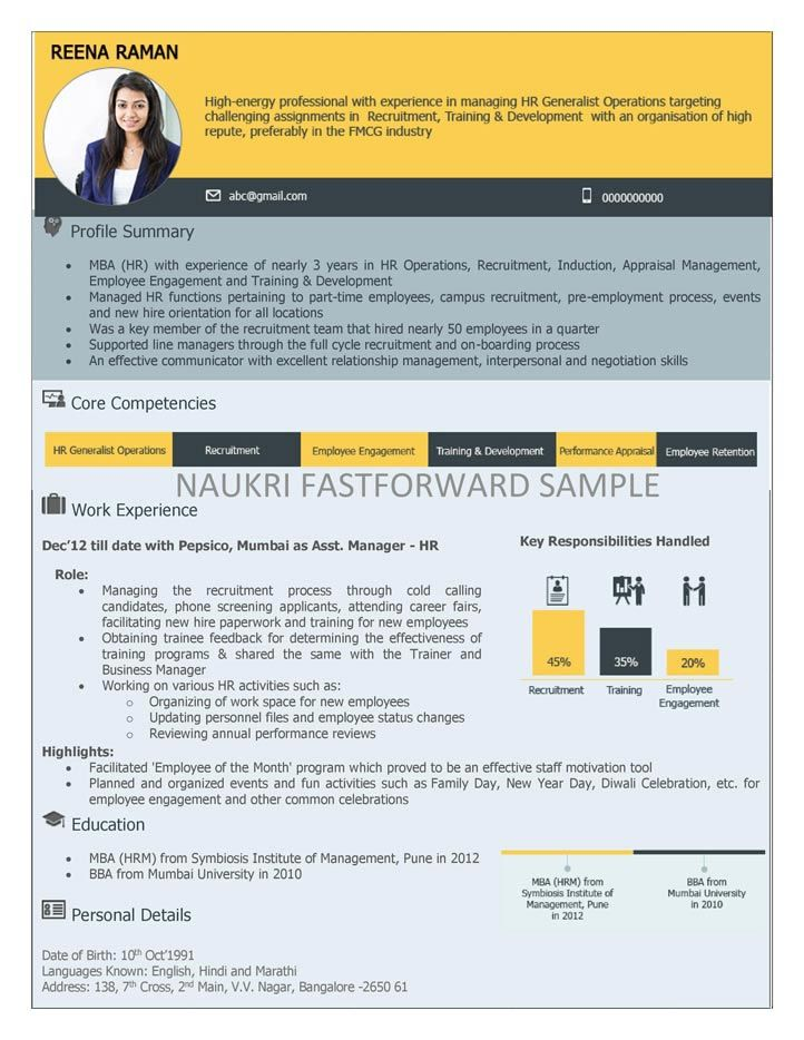 Visual Resume Samples random Pinterest - naukri resume format