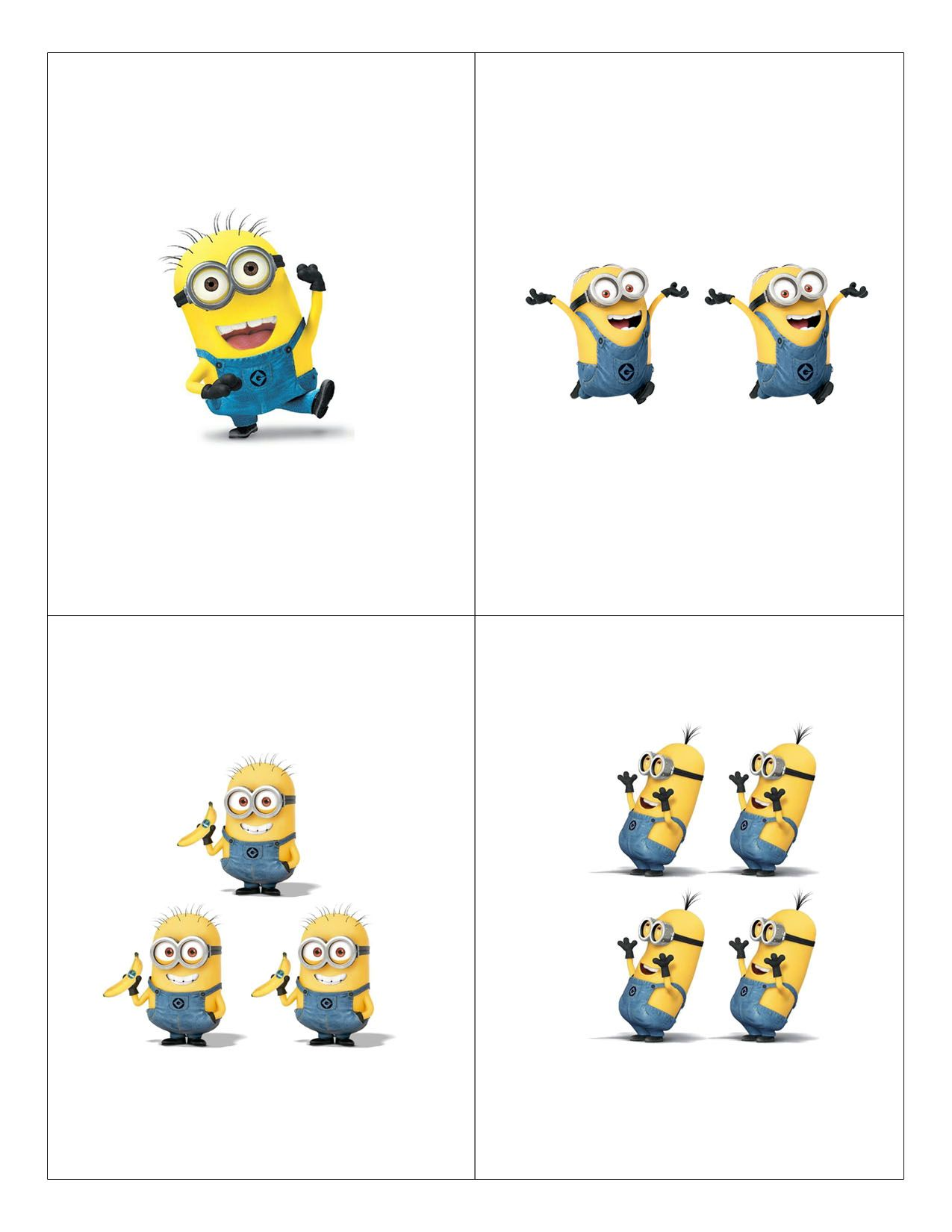 Minion Counting Flashcards 1 4