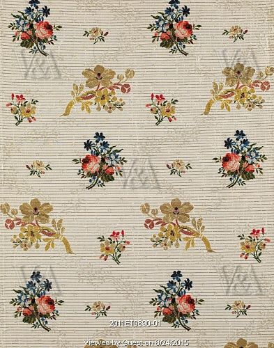 Textile design with flowers. Spitalfields, London, England, late 18th century