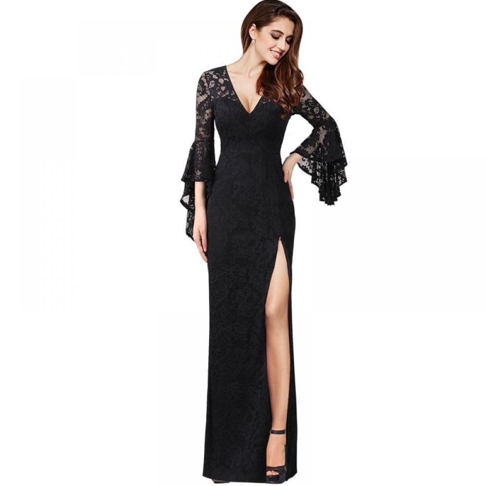 فستان دانتيل طويل بفتحة أمامية مميزة وكشكش Teenage Girls Dresses Clothes For Women V Neck Dress