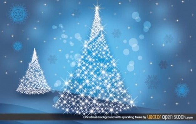 Christmas trees background with snowflakes