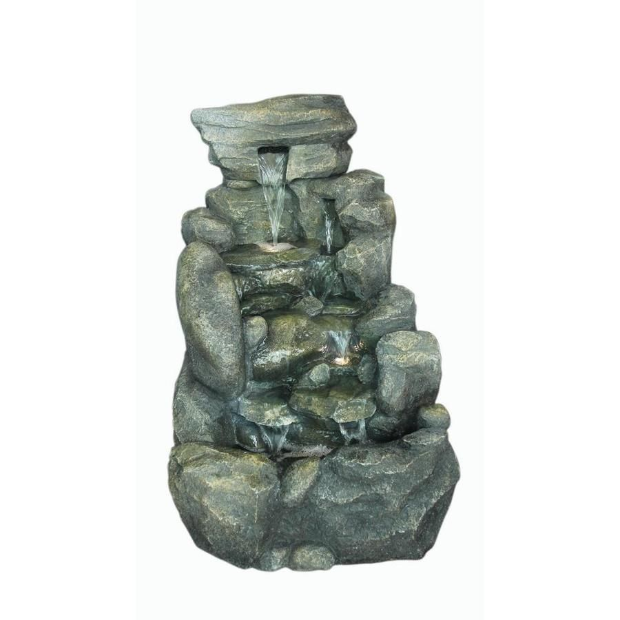 27 219 Garden Treasures 26 8 In Resin Rock Waterfall Outdoor