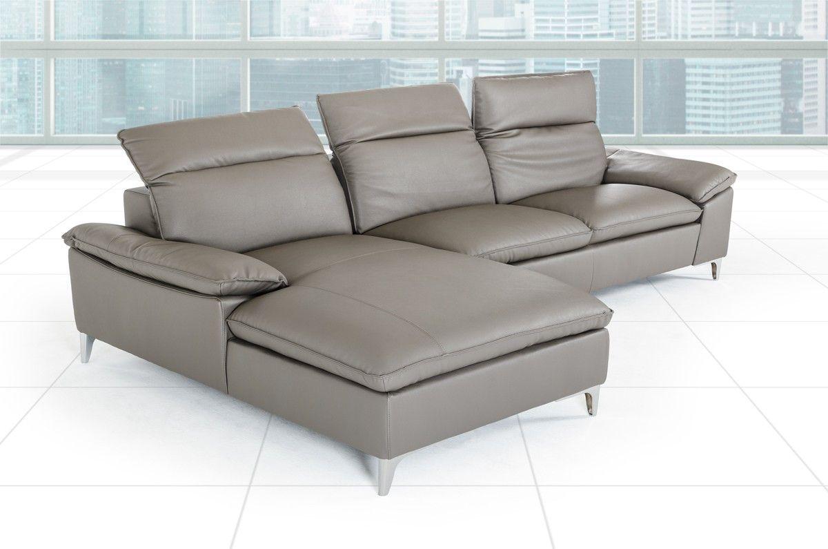 Leather Sofa Divani Casa Dandelion Modern Dark Grey Leather Sectional Sofa