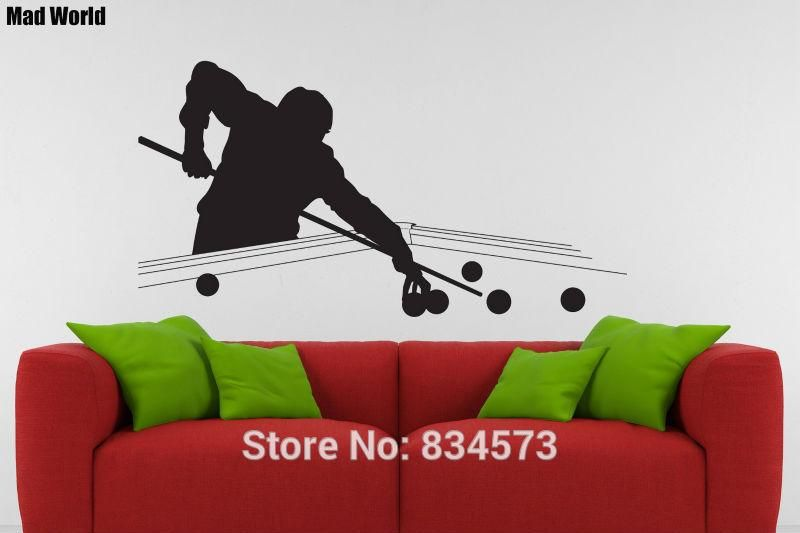 snooker pool table silhouette wall art sticker decal wallart home