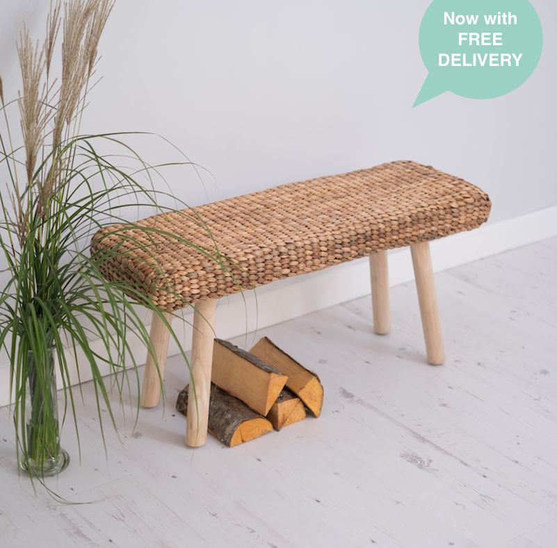 Water Hyacinth Bench Rustic Wood Bench Provence Za Za Homes In 2020 Rustic Wood Bench Wicker Decor Indoor Wicker Furniture