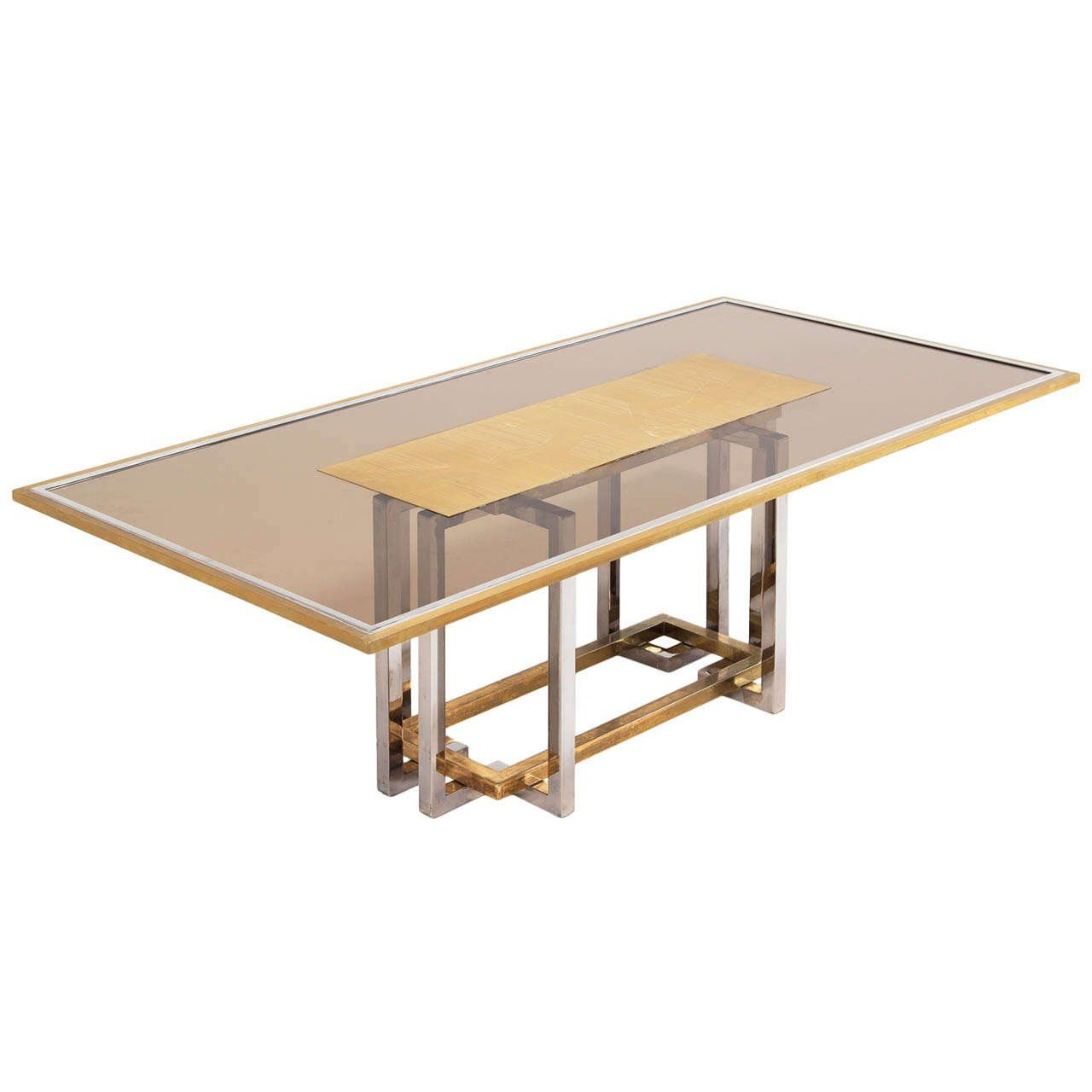 Italian Chrome And Brass Dining Table With Elegant Glass Top For