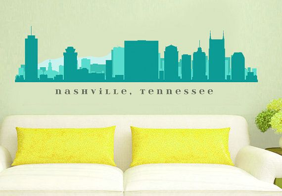 Nashville tennessee skyline wall decal art vinyl by americandecals