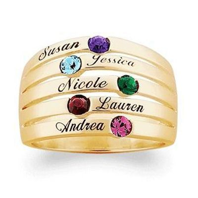 6f17720210bb9 18K Gold Birthstone Stackable Family Band (2 to 6 Names) - Zales ...