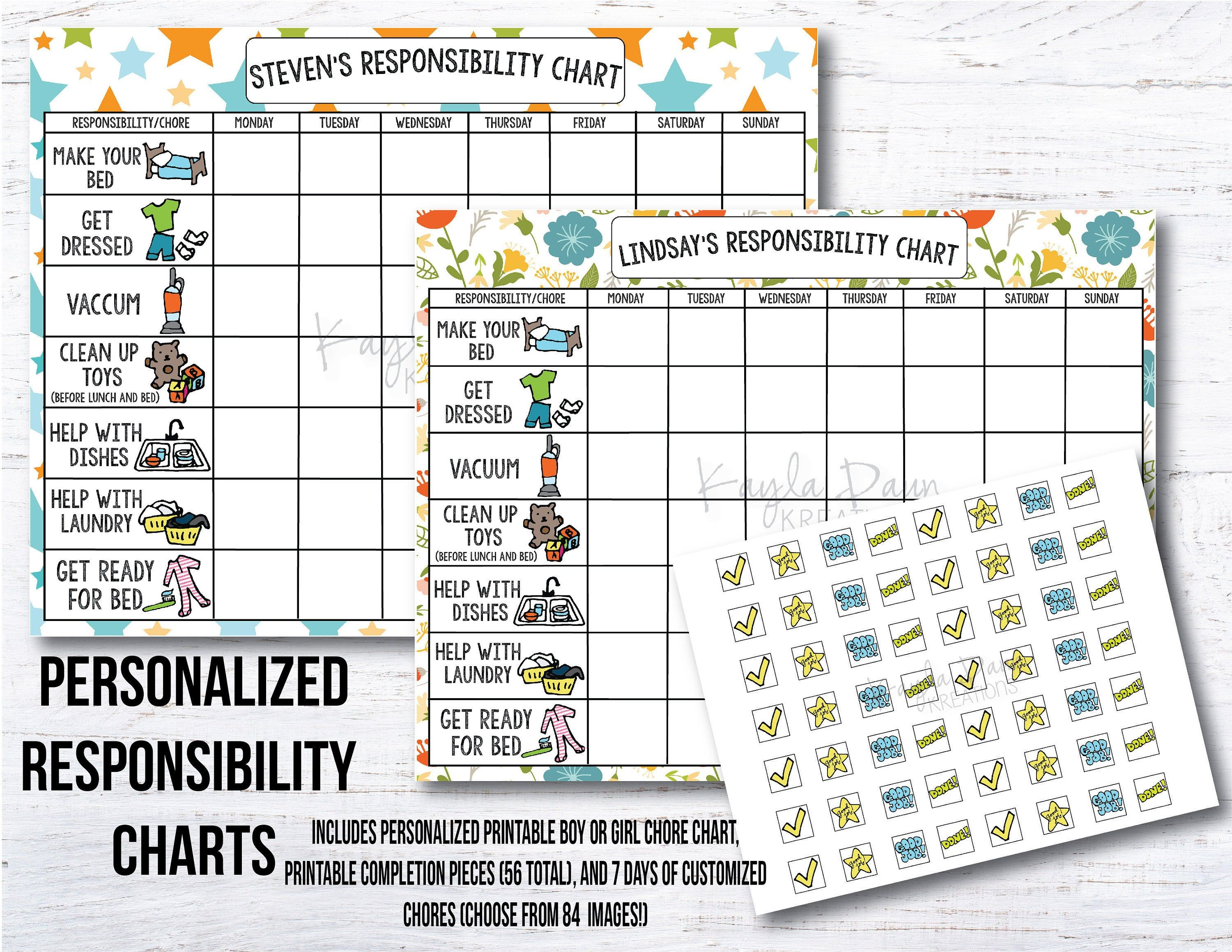 Personalized Printable Chore Charts