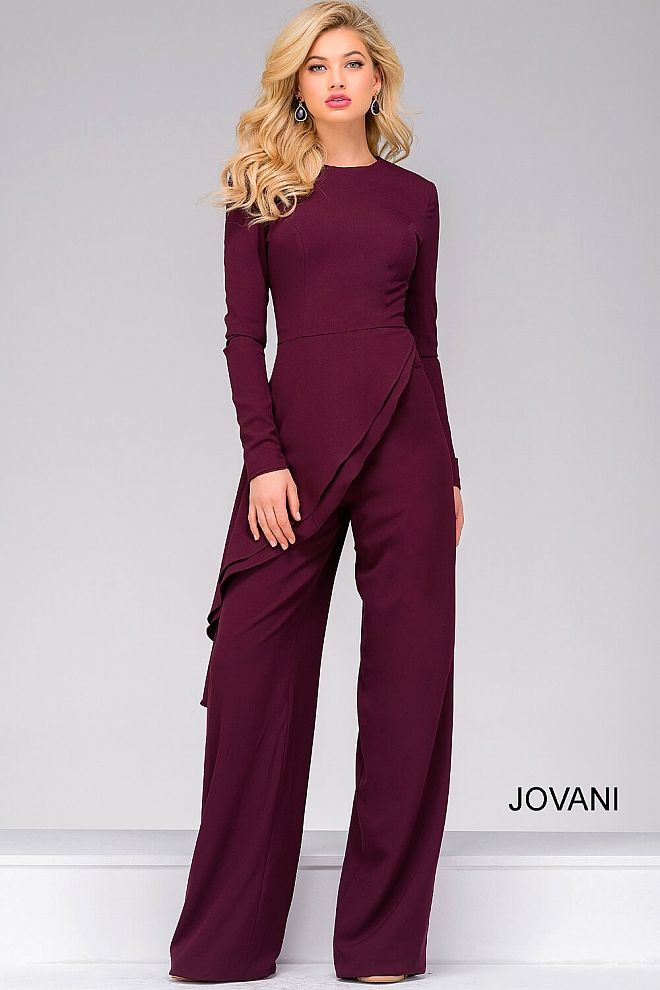 a46efa440c8 Floor length fitted burgundy jumpsuit features long sleeves