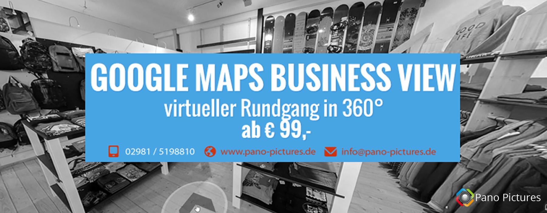 25% mehr Umsatz generieren mit Google Maps Business View von Pano Pictures. Jetzt Informieren!