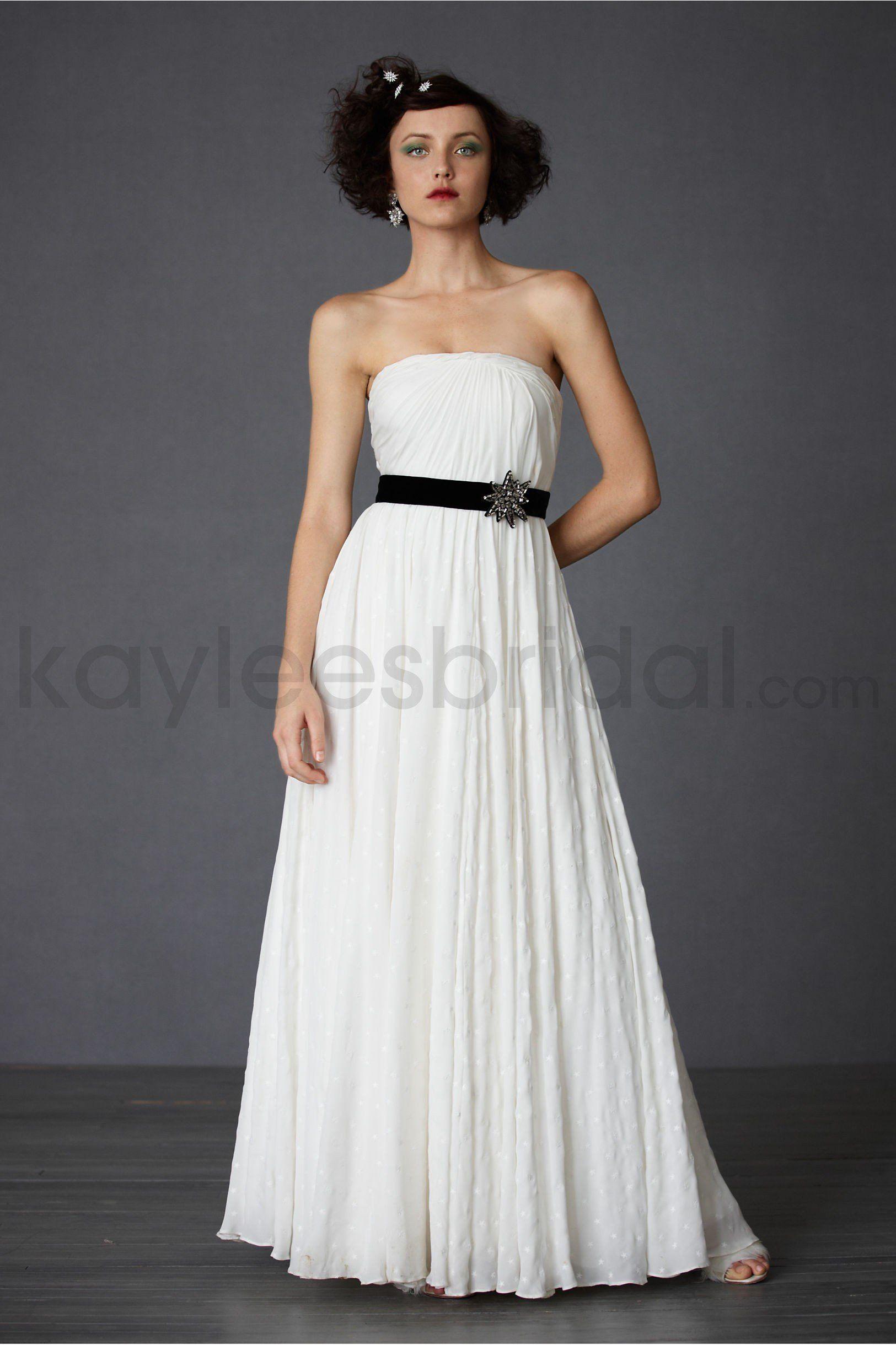 Cotton strapless back zip draped bodice wedding dress collective