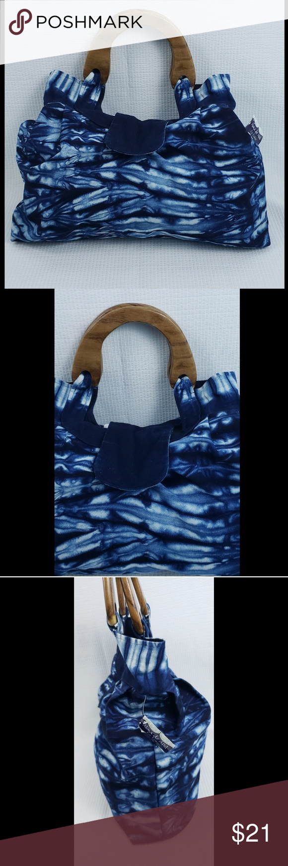 Alma de Anil Wooden Handle Tie & Dye Tote Bag 100% Cotton,  Made in El Salvador,  Tie & Dye, wooden Handles,  Has inside pockets; 2, Eco fashion... Measurements are approximate; - Length;  19 inches  - Height; 13.5 inches  - Strap drop; 9 inches Alma de Anil Bags Totes #woodentotebag