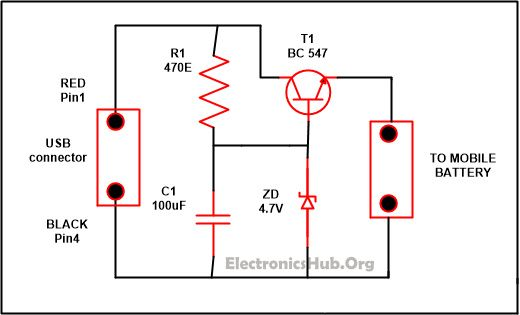 usb mobile charger circuit mini projects circuit diagramusb mobile charger circuit diagram source link www electronicshub