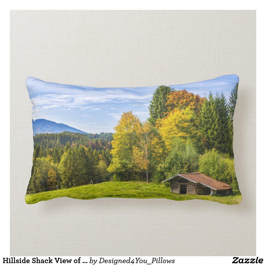 Hillside Shack View Of Mountains Forest Lumbar Pillow In 2020 Pillows Decorative Throw Pillows Throw Pillows