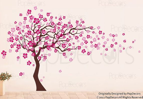 Flower tree wall decal floral decals girl 39 s decal baby for Cherry blossom wall mural stencil