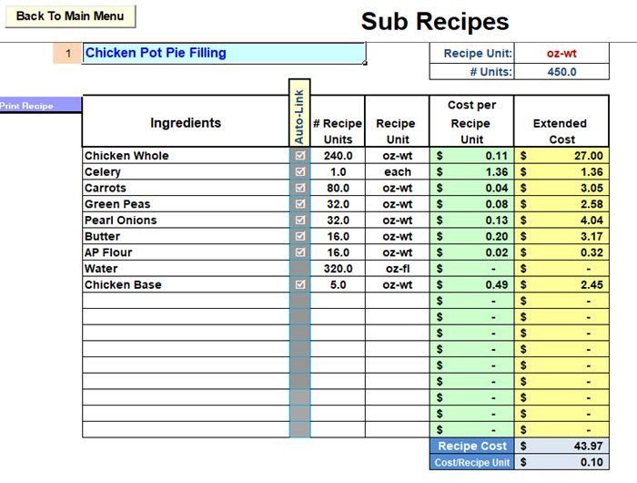 Restaurant Inventory And Menu Costing Workbook With Images