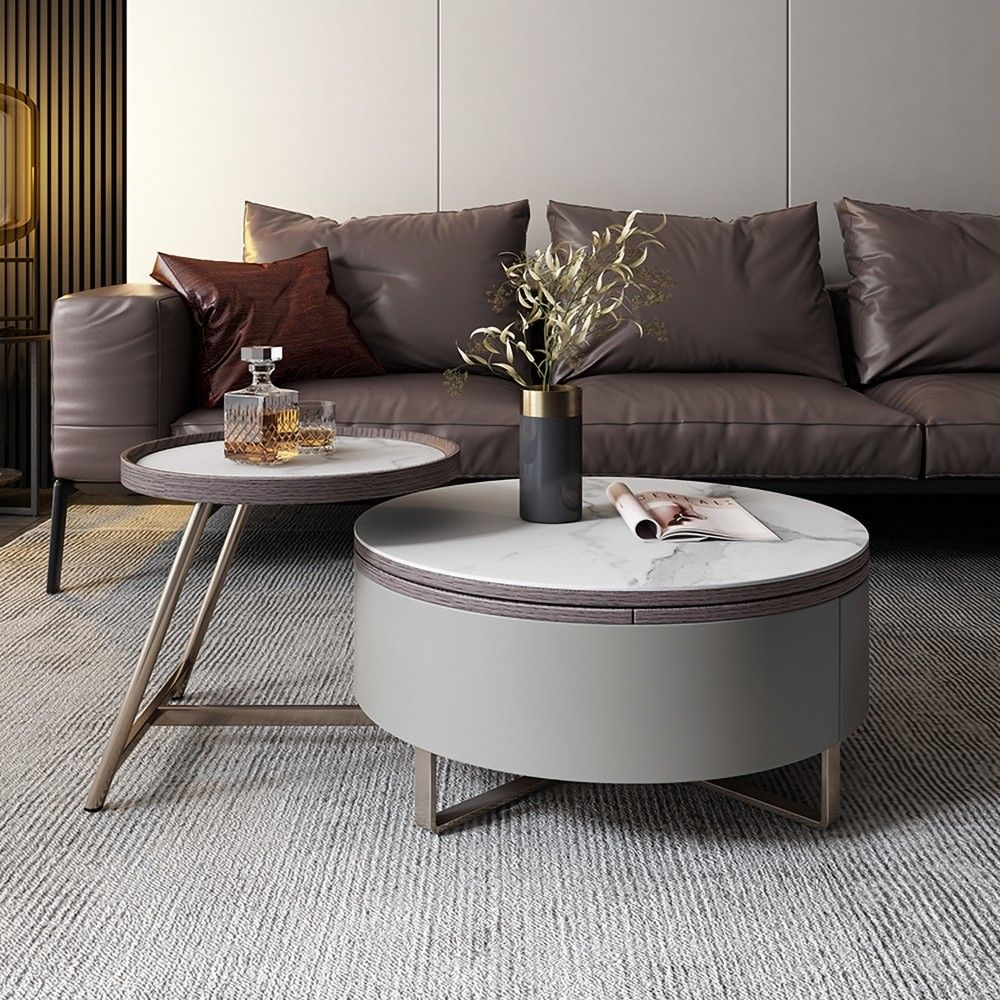 Gray Round Swivel Coffee Table With Storage Drawer 2 Piece Set White Stone Center Table Living Room Coffee Table Round Living Room Table Round center table for living room