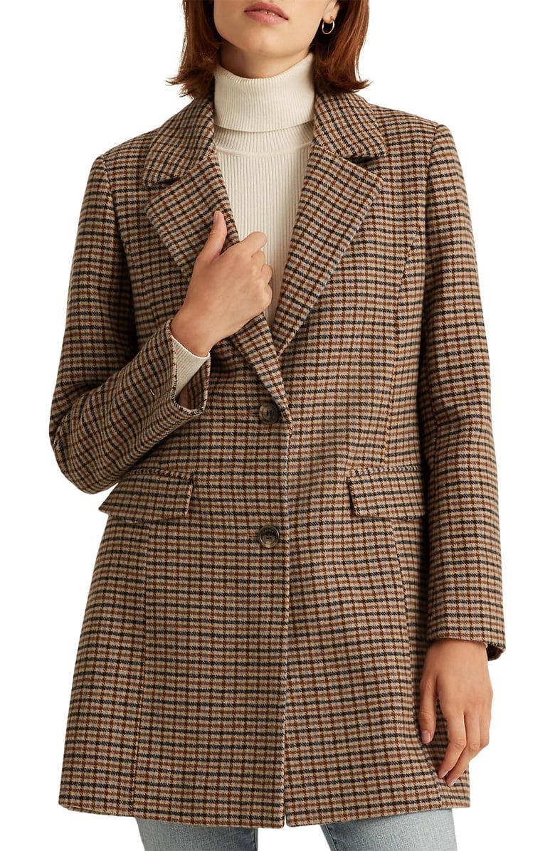 Lauren Ralph Lauren Houndstooth Wool Blend Coat Nordstrom Ralph Lauren Outfits Wool Blend Coat Blazer Style Coat [ 1196 x 780 Pixel ]