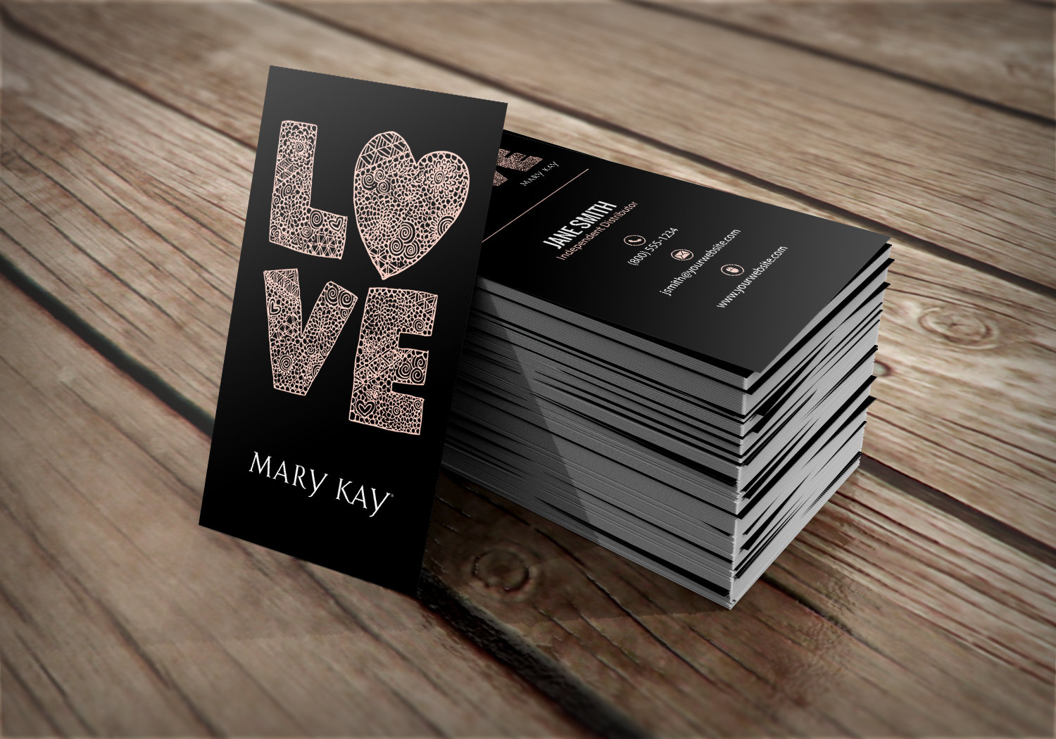 Vertical, unique minimalist business card design for Mary Kay ...