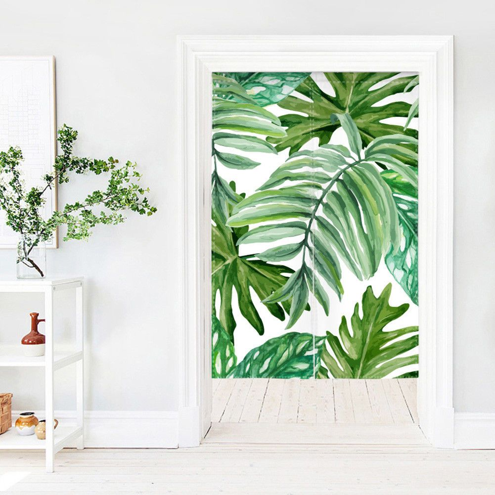 Flower plant pattern room divider doorway curtain decor with tension
