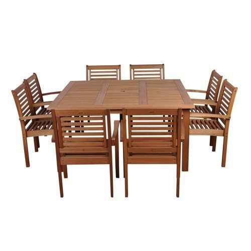 Patio Furniture Sets Clearance 9 Piece All Weather Wood Table Umbrella Hole
