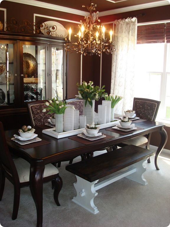 Dining Room Table Love The Bench And Tabletop Decor