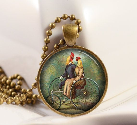 Vintage Illustration of Chickens riding a bicycle made for two... pendant