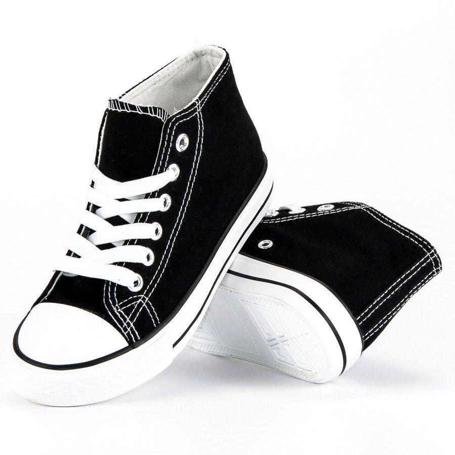 Trampki Dla Dzieci Butymodne Czarne Wiazane Trampki Nad Kostke Butymodne Sneakers High Top Sneakers Top Sneakers