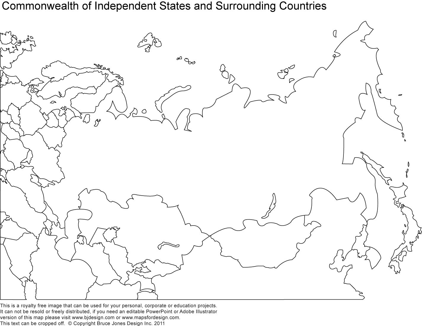 Russia, Asia, Central Asia printable blank maps, royalty free
