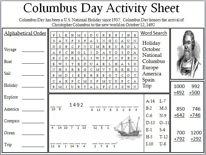 Columbus Day Activities For High School Middle School Sheet Jpg Jpeg Image 669 502 Pixel Holiday Worksheets Christopher Columbus Activities Activity Sheets