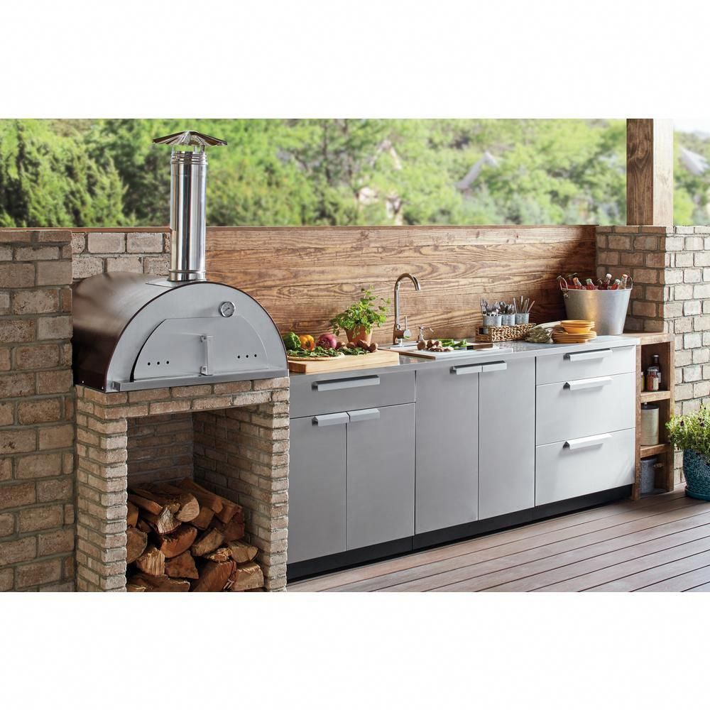Necessories Nonno Peppe 32 In Wood Burning Outdoor Pizza Oven In Hammered Copper Nonno Peppe In 2020 Outdoor Kitchen Countertops Outdoor Kitchen Design Kitchen Style