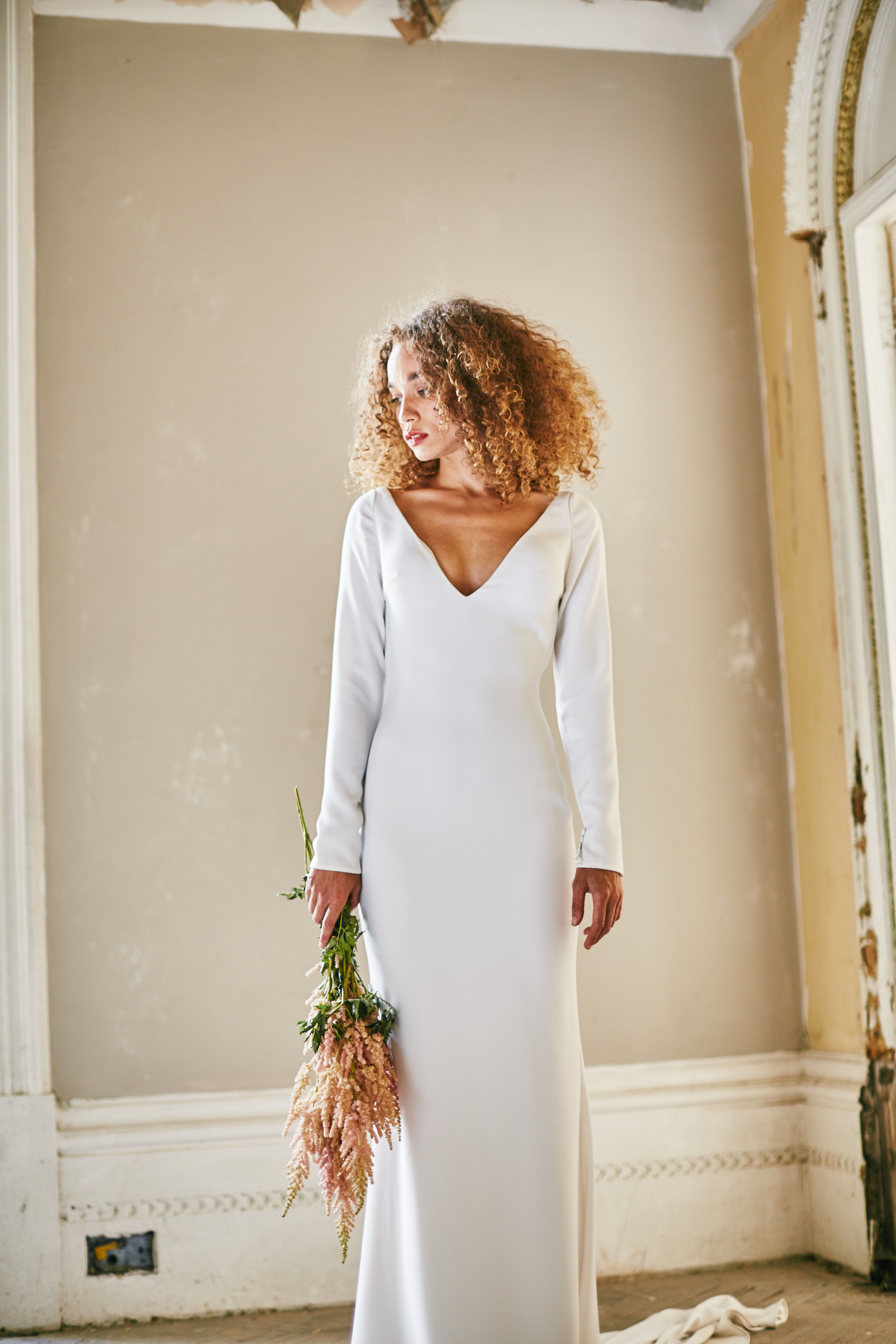 Olive Made With Love Bridal Long Sleeve Fitted Crepe Wedding Dress With V Neckline And Wedding Dresses Australian Wedding Dresses Wedding Dresses Romantic [ 5760 x 3840 Pixel ]