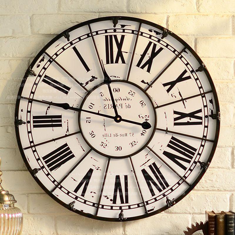Extra Large 60cm Black Metal Wall Clock Black Skeleton Roman Numeral Wall Clock Black Metal