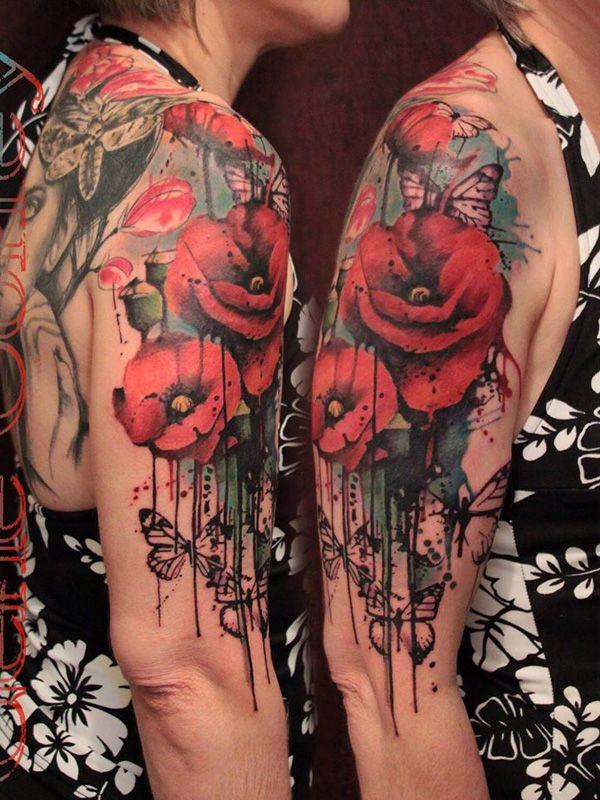 Bird Half Sleeves Watercolor Tattoo With Flowers: 60 Beautiful Poppy Tattoos