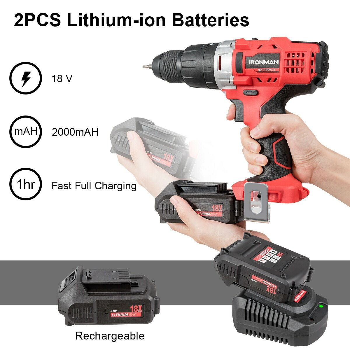18v Cordless Drill Driver Impact Tool Kit With Led Light 18v Cordless Drill Cordless Drill Drill Driver