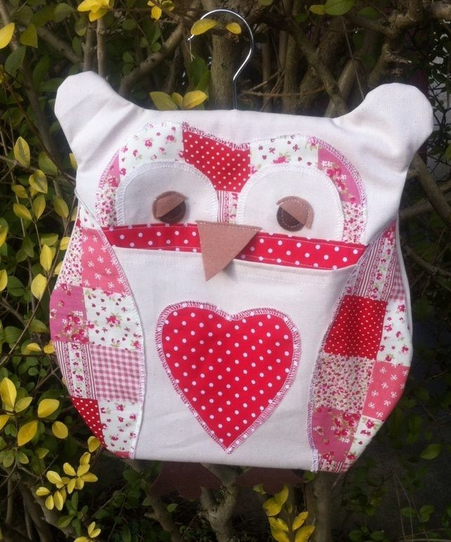 Owl Peg Bag- Red Patchwork | Clothespin Bags and laundry stuff ...