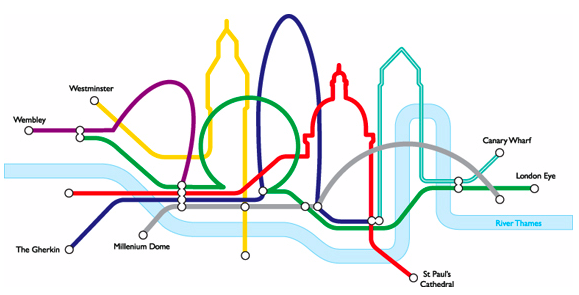 Subway Map Graphic Design.Tube Map Graphic Design Words Words Words London Skyline