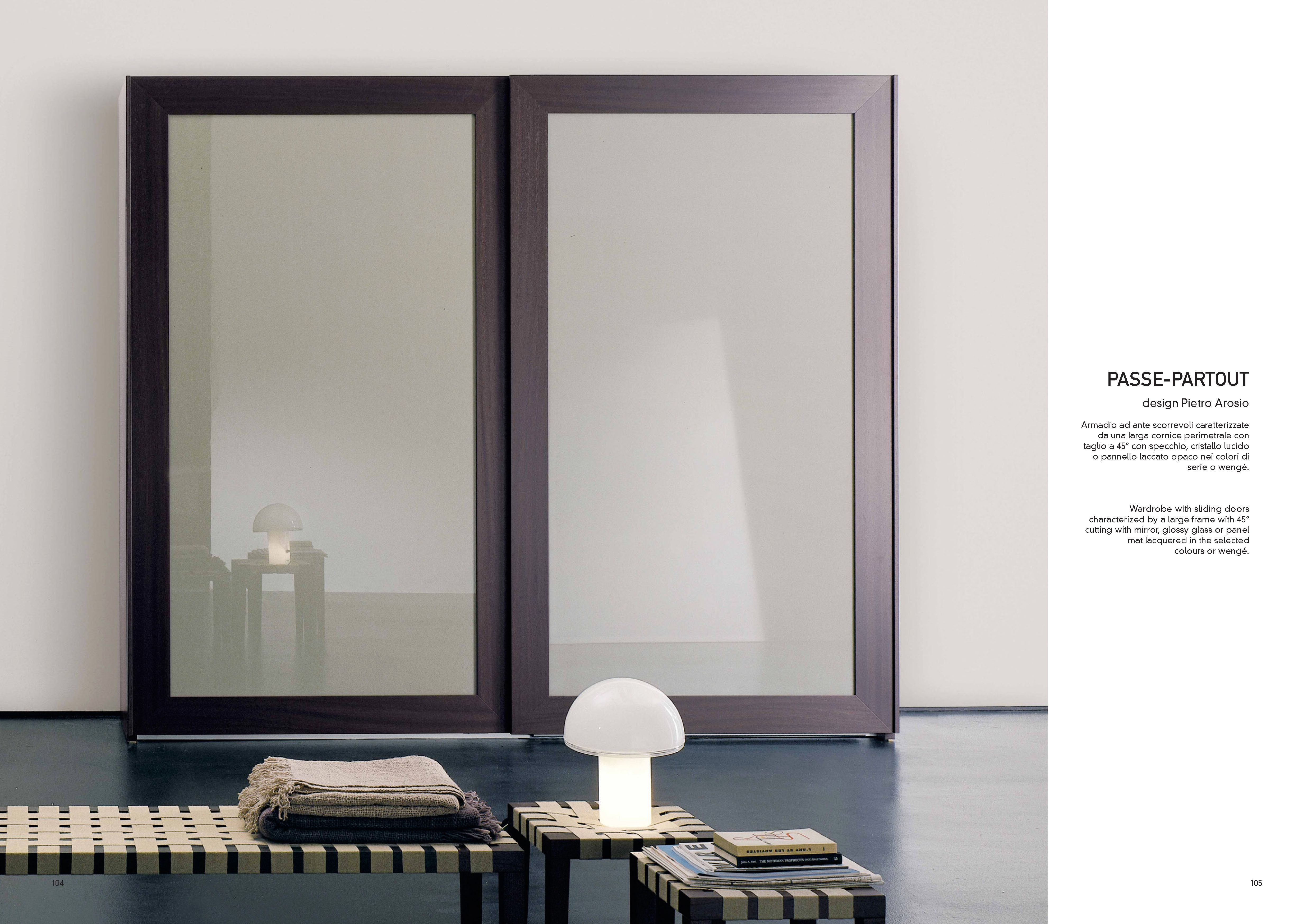 Amalfi matt lacquered wooden wardrobe with handcrafted finishes