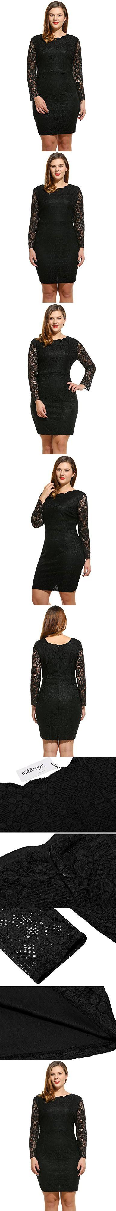 Meaneor women plus size long sleeve lace dress cocktail dress black