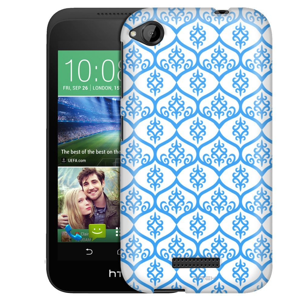 HTC Desire 320 Victorian Tileable Blue on White Slim Case